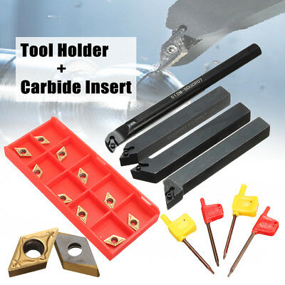 4pcs 12mm Lathe Turning Tool Holder Boring Bar + 10 DCMT0702 Carbide Inserts Set