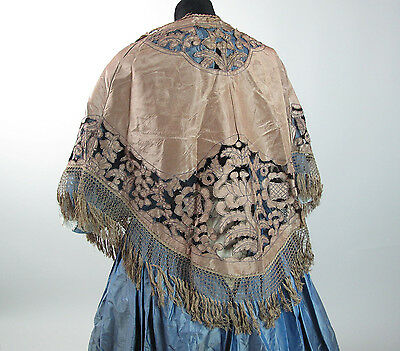 Lacy Antique Victorian Cutwork Silk Cape / Mantle With Fringe