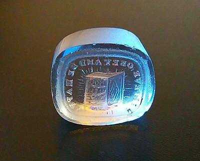 """Antique Glass Intaglio Seal, Bible """"believe Obey And Be Happy"""""""