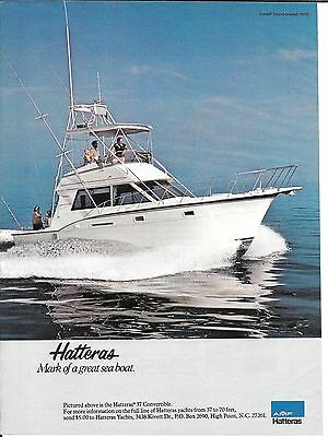 1980 AMF Hatteras 37' Convertible Yacht Color Ad- Nice Photo