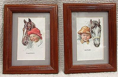 2 Antique Austrian Horse Children Postcards Matted Wood Framed in Glass FREE S/H