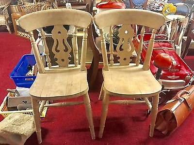PAIR x2 ANTIQUE RUSTIC PINE FARMHOUSE KITCHEN DINING CHAIRS - FIDDLEBACK -