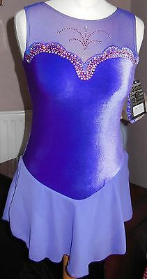 NEW GK Velvet ICE SKATING COMPETITION DRESS Adult SMALL with Swarovski Crystals