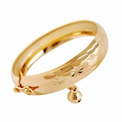 Fashion Lovely Jewelry Gold Plated Heart Bell Bracelet Baby Kids Bangle