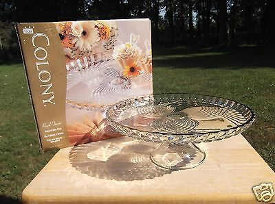 Indiana Glass Colony Royal Ornate Clear Glass Cake Stand with Gold Rim in Box