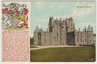 Glamis Castle nr Forfar, Coat of Arms, History: Old Colour PPC, GVG Used 1910.