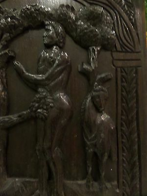 16th  Century Carved Church Oak Panel  Adam & Eve and the Tree of Life Mythical