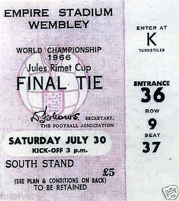 1966 WORLD CUP FINAL - England v West Germany Ticket - reprint