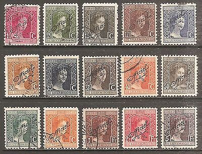 1915-17 Luxembourg Officials Set of 15 SG O236-O250 Used (Cat £39)