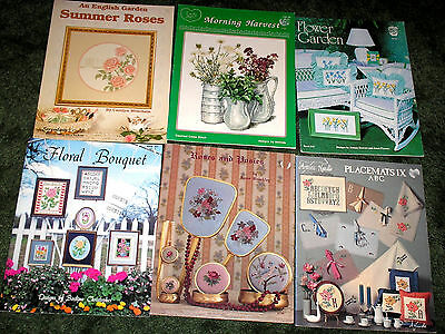 6 Cross Stitch Chart Booklets~Assorted Floral Designs
