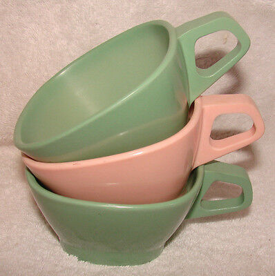 3 Vintage Harmony House Square Cups Melmac Green Pink