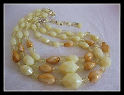 Retro Beaded Necklace Yellow Triple 3 Strand West Germany Vintage Plastic 50's