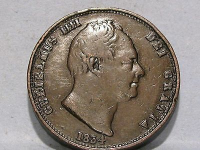 William Iv Copper Halfpenny Coin Dated 1834