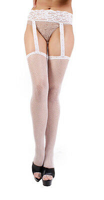 Leg Avenue Fishnet Stockings With Attached Lace Garterbelt - 1656