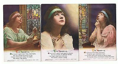 Set Of 3 Bamforth Song Series No 4984 The Rosary