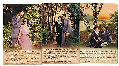 Set Of 3 Bamforth Song Series No 4811 Love Me As You Used To Love Me