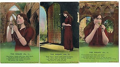 Set Of 3 Bamforth Song Series No 4741 The Rosary
