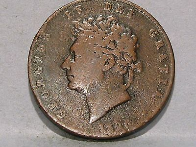 George Iv Copper Halfpenny Coin Dated 1826