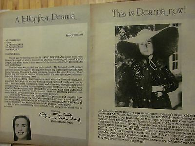 Deanna Durbin, Two Page Vintage Clipping