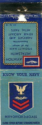 Know Your Navy, Petty Officer 2nd Class, Aviation Metalsmith Matchbook