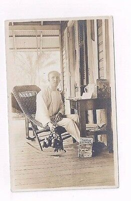 PANAMA antique Canal Zone real photo rppc post card Man at Home in Tabernilla