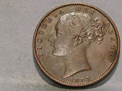 Victorian **young Head** Copper Farthing Coin Dated 1853