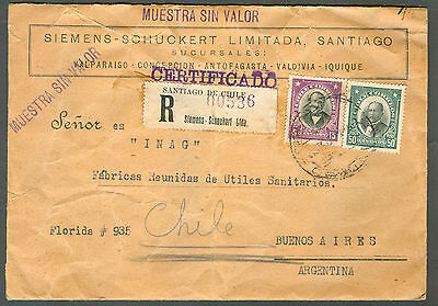 Chile  Registered Cover Muestra Sin Valor To Argentina  Rare