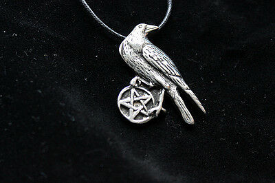 Pewter RAVEN PENTACLE Necklace Protection Celtic Morrigan Wicca Pagan