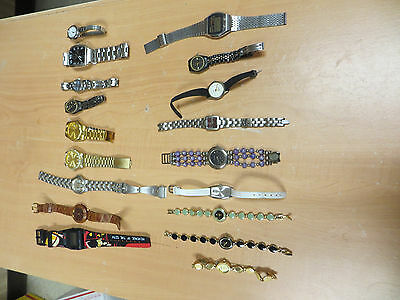 Estate Mixed Lot Of Old Watches W / Metal Bands-Swiss Hunter,lucerne,benrus,etc.