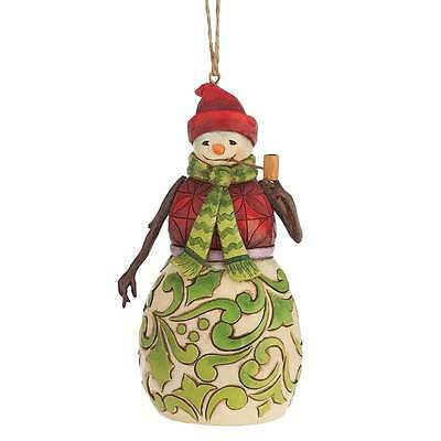 Jim Shore Heartwood Creek Christmas Red/Green Snowman Hanging Ornament 4047792