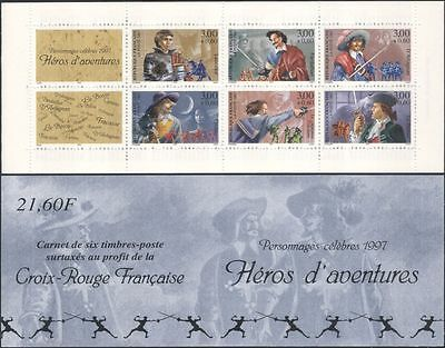France 1997 Red Cross Fund/Books/Heroes/Fencing/Knights/Horses 6v bklt (b10019c)