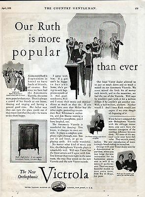 1928 Victrola The New Orthophonic Phonograph Ad Our Ruth