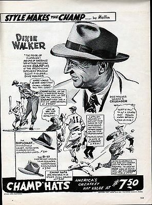 1947 Champ Mens Hats Dixie Walker Dodgers Baseball Player Ad