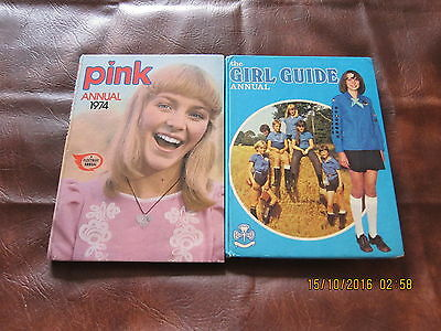Two Books For Girls-'pink Annual' 1974-'the Girl Guide Annual' 1975.good Copies.