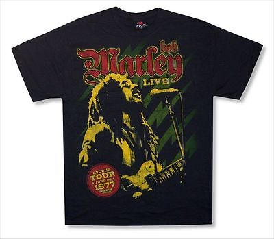 Bob Marley Live In London 1977 Mens Black T Shirt New Official