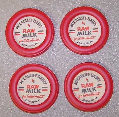 4 Mccauliff Dairy Johnstown Pa Raw Milk Bottle Caps 2 Inches