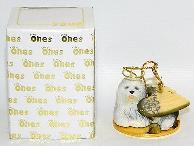 "Old English Sheepdog Figurine Ornament Angel 2"" Miniature Figure Tiny Ones 1996"