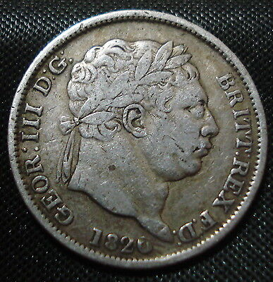197 Years Old 1820 George Iii Silver Shilling Good Clear Date & Detail