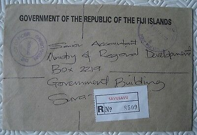 Fiji Island Registered cover `Savusavu` with multiple cancellations