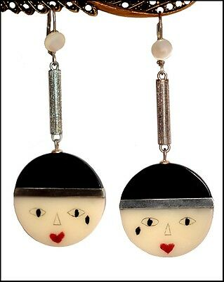 Vintage Deco Shape Galalith And Chrome Dangling Pierrot Face Earrings