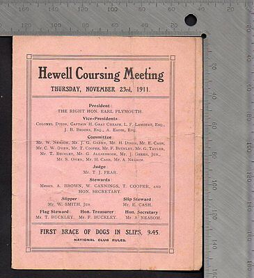 Greyhounds Hare Coursing Card - Hanbury Worcestershire  Meeting Nov 15th 1900
