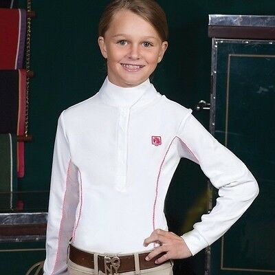 Romfh Competition Girls/Childs Show Shirt - Magnetic Wrap Neck - White w/Rose