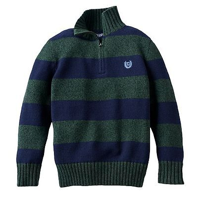 NWT size 4 CHAPS by RALPH LAUREN green/navy cotton rugby striped 1/4 zip sweater