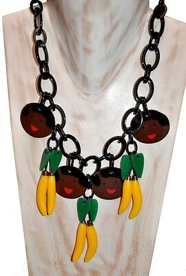 Fab Resin Josephine Baker Bib Necklace With Faces And Banana Fruits Charms