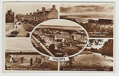 Nairn Draughts Board, High St., etc in 1954 Sepia RP MView PPC, GVG Used 1956