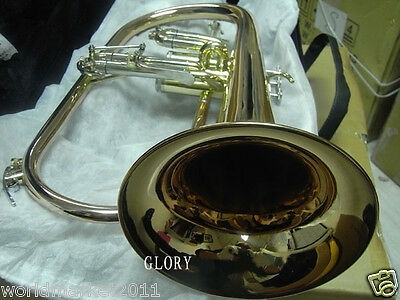 #12 Hand Polished Gold Lacquer B-Flat Top Grade Musical Instruments Flugelhorn