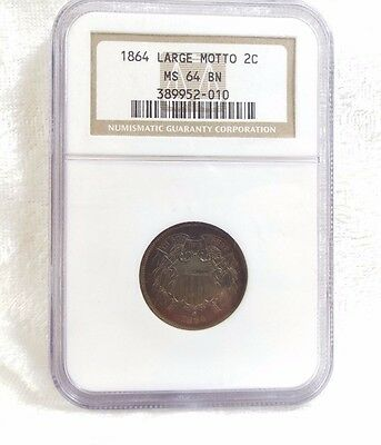 1864 Two-Cent Piece LARGE Motto CERTIFIED NGC MS 64 BROWN  2c