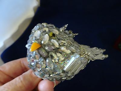 Bird Ornament-Acrylic Crystals-Wire W. Beaded Wings-Glass Look Eyes/beak-New