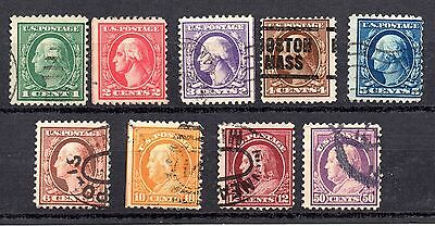 US American (USA) lot used 1916-19 president stamps 1c to 50 cents inc Franklin