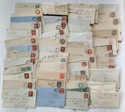 Gb Qv & Pre-Stamp Accumulation 70+ Covers & Cards, Stamps, Etc